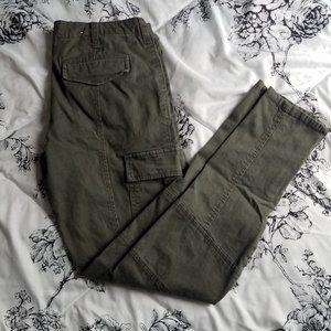 Navy Green Cargo Pants Mid Waist
